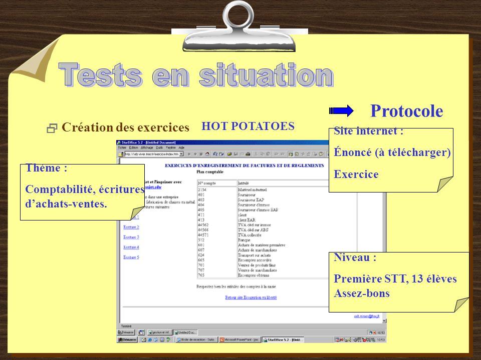 Protocole Création des exercices HOT POTATOES Site internet : Énoncé (à télécharger) Exercice Thème : Comptabilité, écritures dachats-ventes.