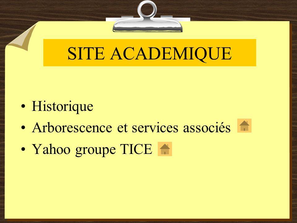 SITE ACADEMIQUE Historique Arborescence et services associés Yahoo groupe TICE