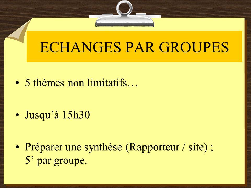 ECHANGES PAR GROUPES 5 thèmes non limitatifs… Jusquà 15h30 Préparer une synthèse (Rapporteur / site) ; 5 par groupe.