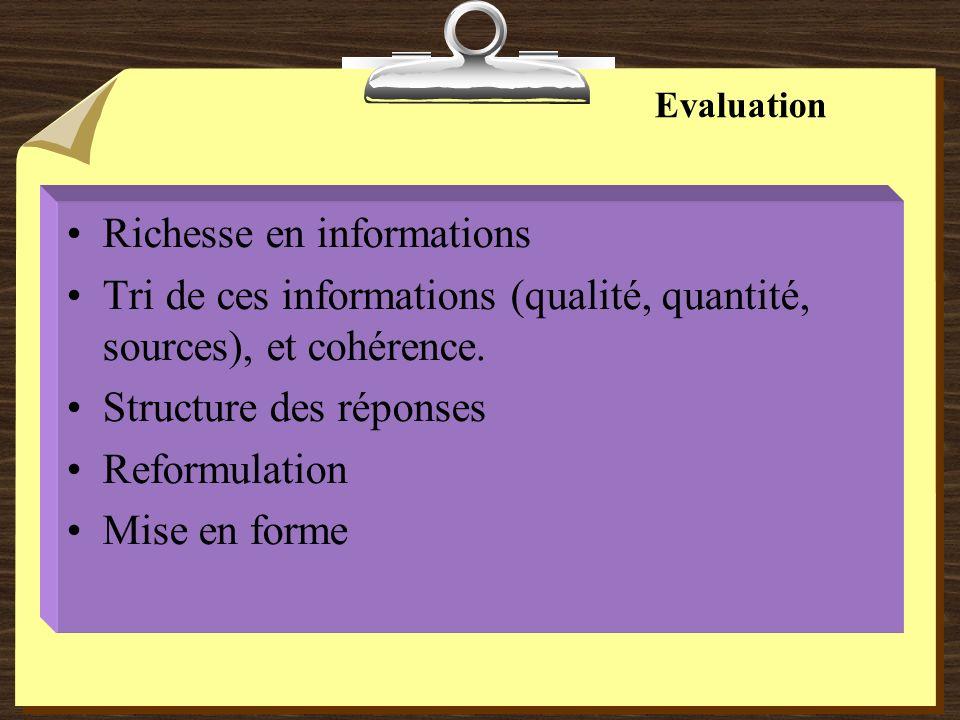 Evaluation Richesse en informations Tri de ces informations (qualité, quantité, sources), et cohérence.