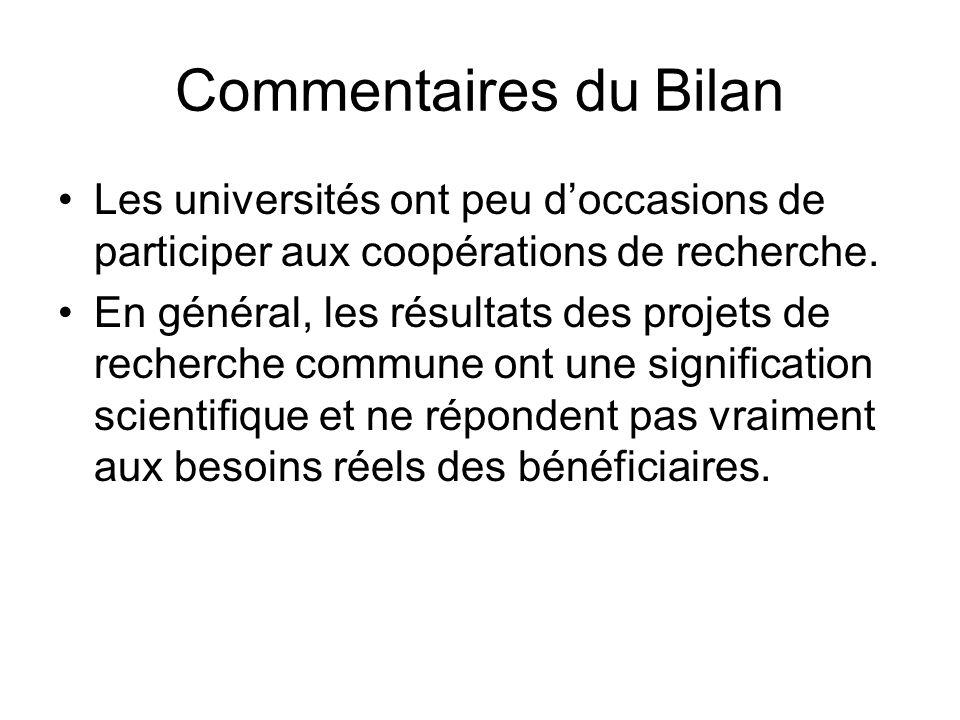 Commentaires du Bilan Les universités ont peu doccasions de participer aux coopérations de recherche.