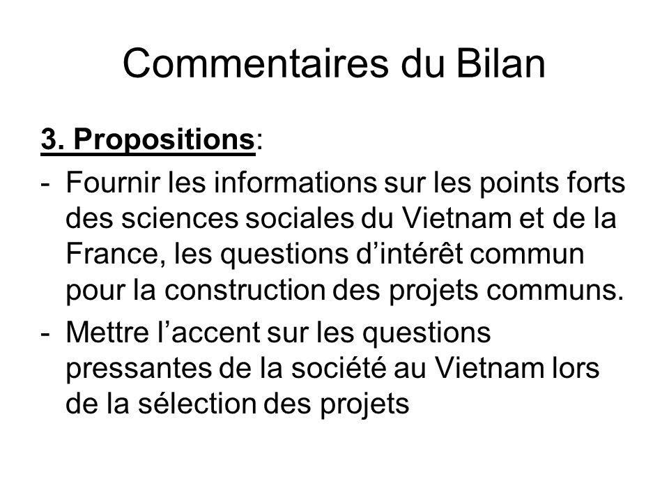 Commentaires du Bilan Il y a de petits et grands projets.