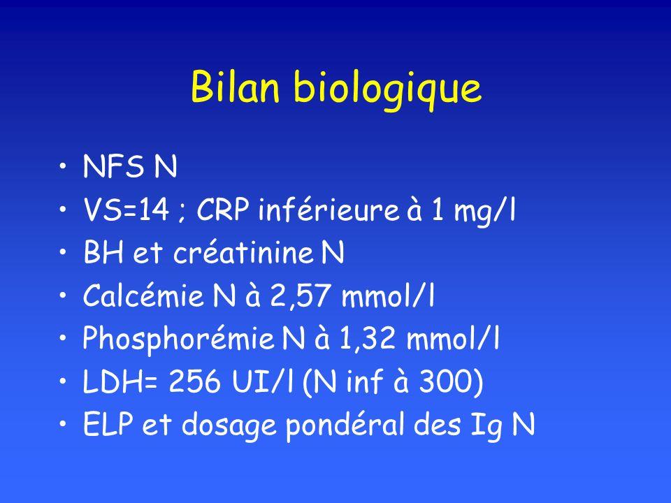 Bilan biologique NFS N VS=14 ; CRP inférieure à 1 mg/l BH et créatinine N Calcémie N à 2,57 mmol/l Phosphorémie N à 1,32 mmol/l LDH= 256 UI/l (N inf à 300) ELP et dosage pondéral des Ig N