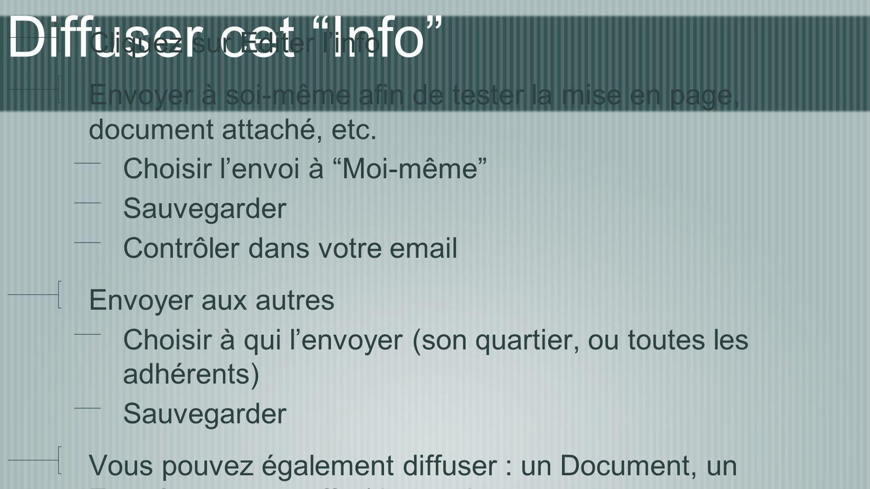 Diffuser cet Info Cliquez sur Editer linfo Envoyer à soi-même afin de tester la mise en page, document attaché, etc.