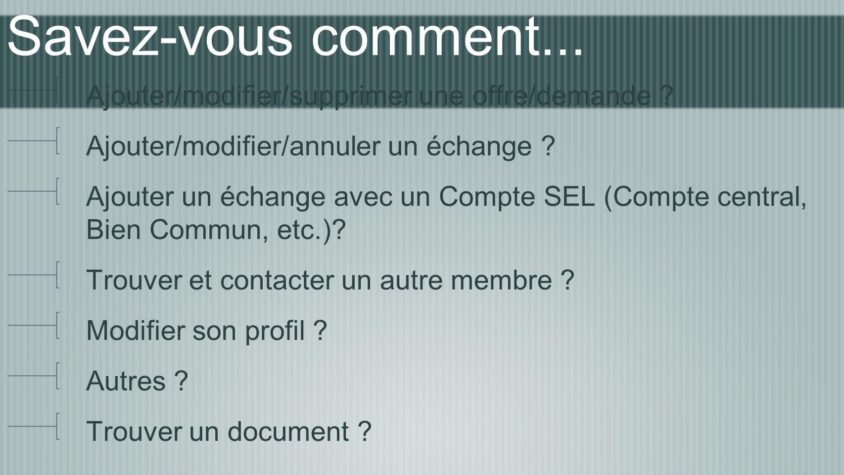 Une Info Exemple : Info > Réunion du 26 avril Créer une Info : Ajouter > Info ajouter le titre ajouter du texte y attacher une photo donner la permission aux adhérents d ajouter des commentaires (ou pas) le sauvegarder