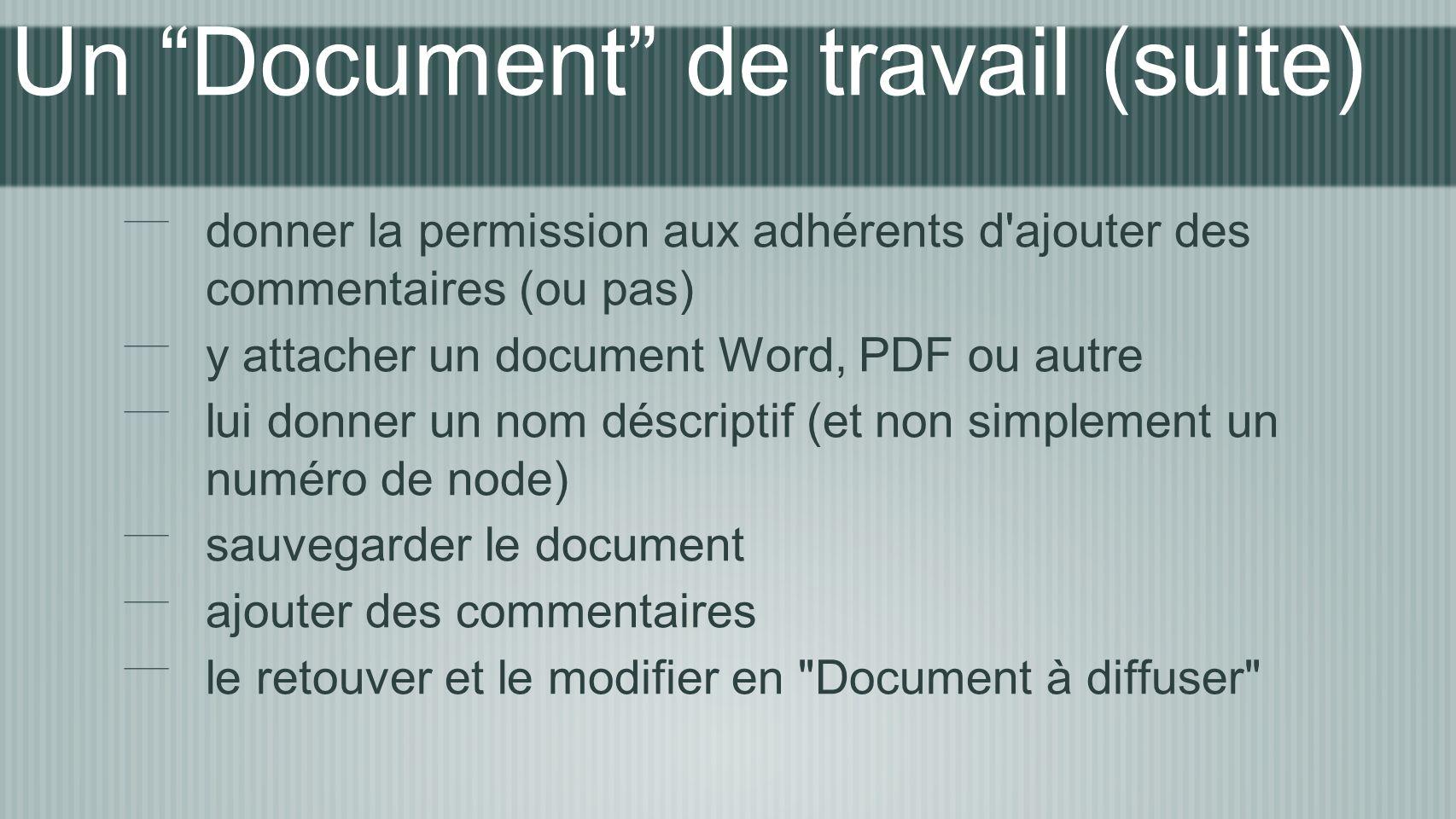 Un Document de travail (suite) donner la permission aux adhérents d ajouter des commentaires (ou pas) y attacher un document Word, PDF ou autre lui donner un nom déscriptif (et non simplement un numéro de node) sauvegarder le document ajouter des commentaires le retouver et le modifier en Document à diffuser