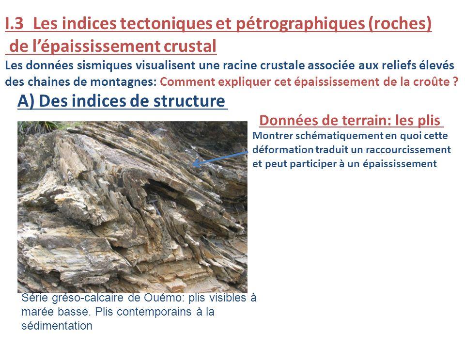 I.3 Les indices tectoniques et pétrographiques (roches) de lépaississement crustal Les données sismiques visualisent une racine crustale associée aux