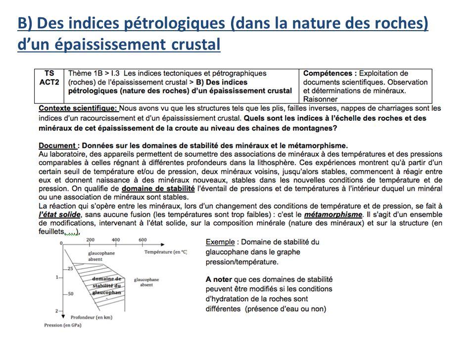 B) Des indices pétrologiques (dans la nature des roches) dun épaississement crustal