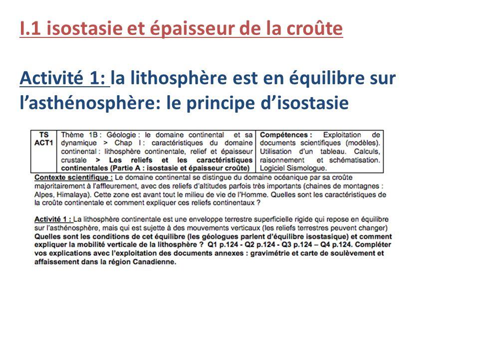 I.1 isostasie et épaisseur de la croûte Activité 1: la lithosphère est en équilibre sur lasthénosphère: le principe disostasie