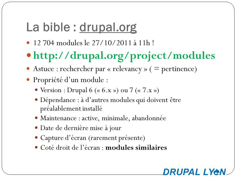 La bible : drupal.org 12 704 modules le 27/10/2011 à 11h .
