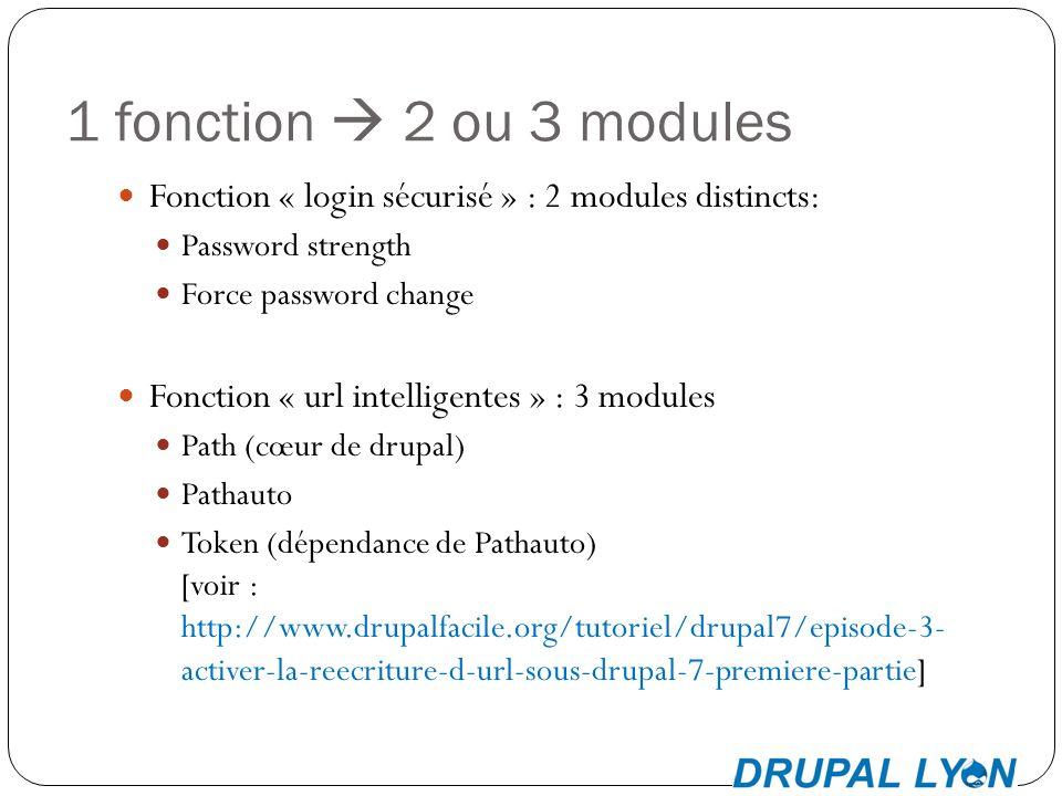 1 fonction 2 ou 3 modules Fonction « login sécurisé » : 2 modules distincts: Password strength Force password change Fonction « url intelligentes » : 3 modules Path (cœur de drupal) Pathauto Token (dépendance de Pathauto) [voir : http://www.drupalfacile.org/tutoriel/drupal7/episode-3- activer-la-reecriture-d-url-sous-drupal-7-premiere-partie]