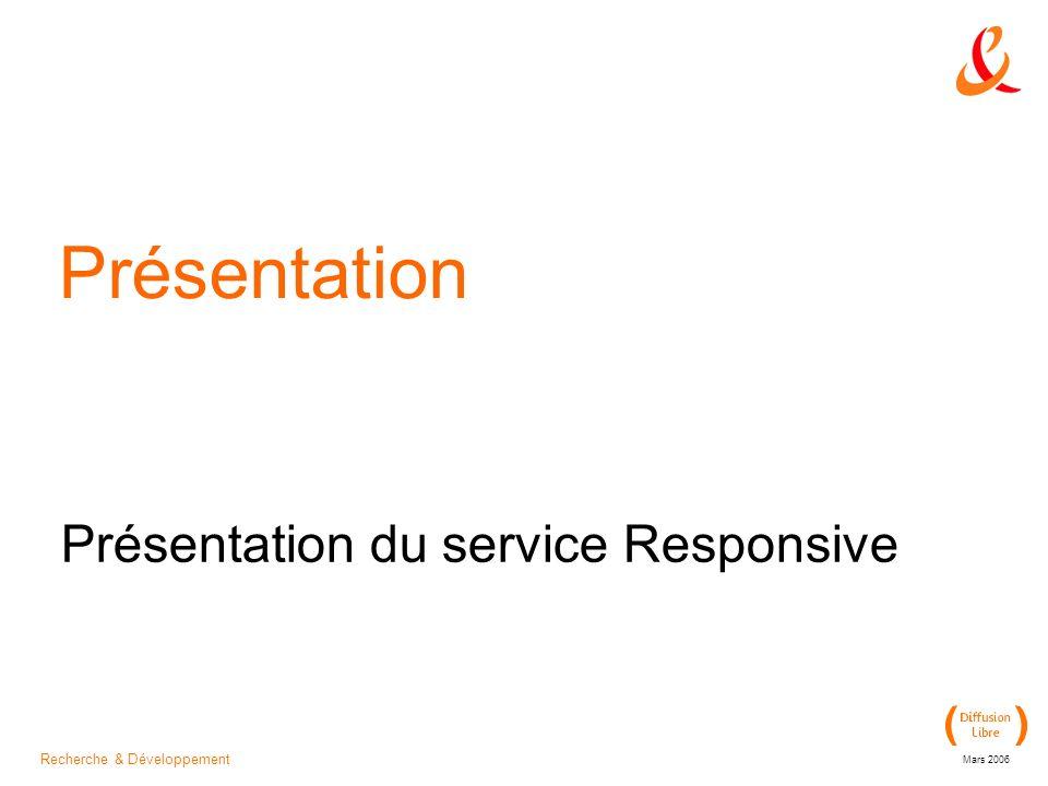 Recherche & Développement Mars 2006 Présentation Présentation du service Responsive