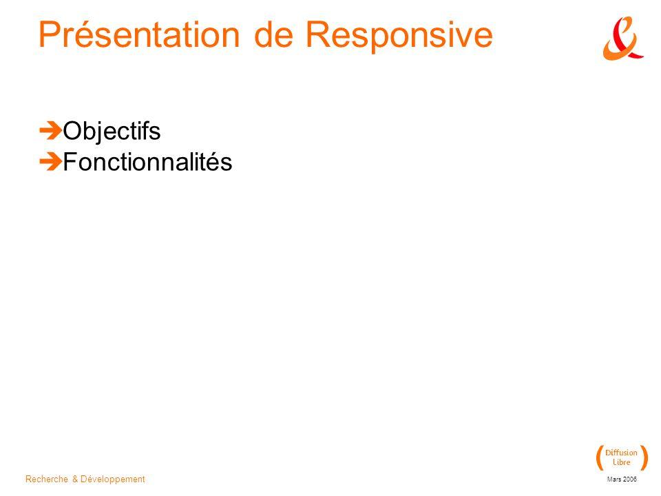 Recherche & Développement Mars 2006 Présentation de Responsive Objectifs Fonctionnalités