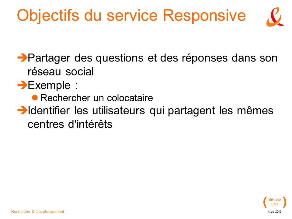 Recherche & Développement Mars 2006 Objectifs du service Responsive Partager des questions et des réponses dans son réseau social Exemple : Rechercher un colocataire Identifier les utilisateurs qui partagent les mêmes centres d intérêts