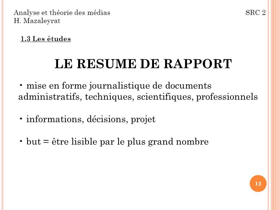 Analyse et théorie des médias SRC 2 H.