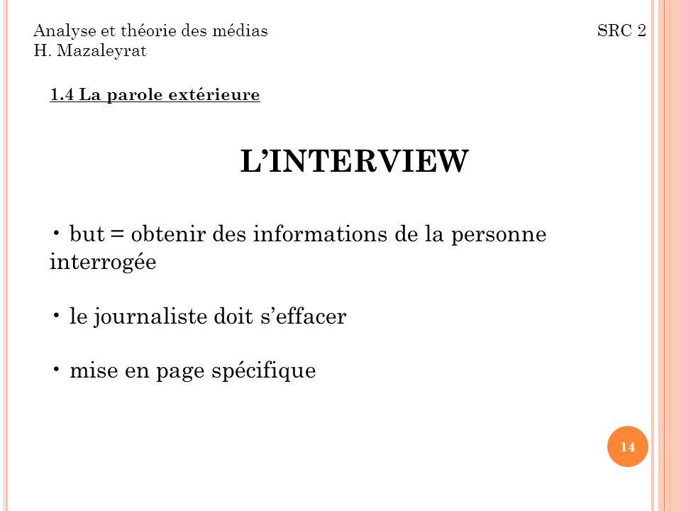 Analyse et théorie des médias SRC 2 H. Mazaleyrat 1.4 La parole extérieure LINTERVIEW but = obtenir des informations de la personne interrogée le jour