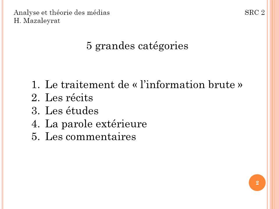 Analyse et théorie des médias SRC 2 H. Mazaleyrat 5 grandes catégories 1.Le traitement de « linformation brute » 2.Les récits 3.Les études 4.La parole
