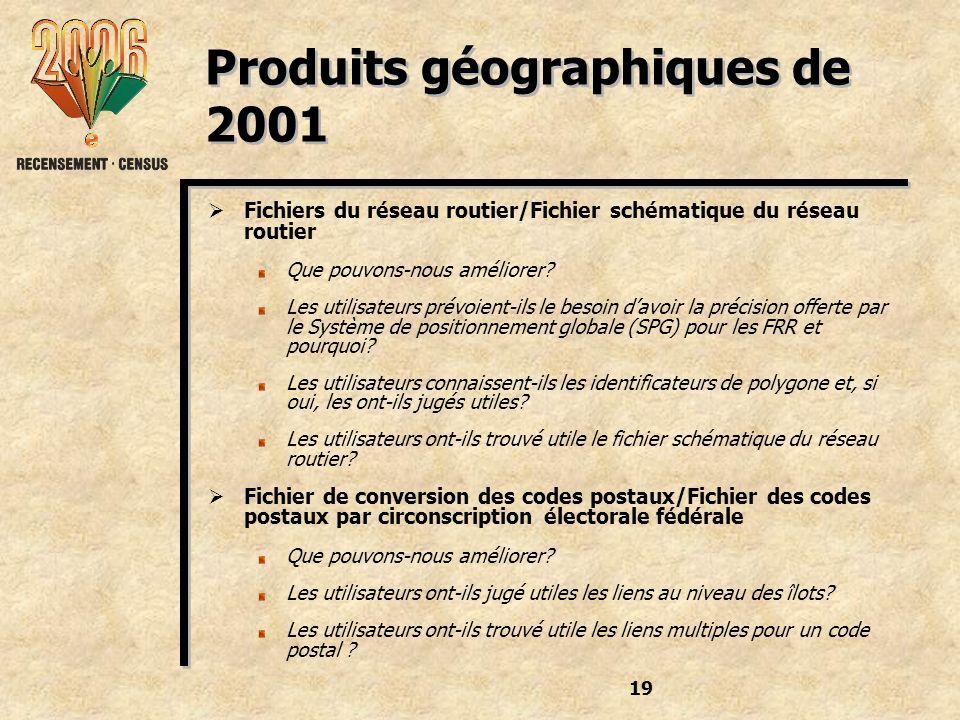 19 Produits géographiques de 2001 Fichiers du réseau routier/Fichier schématique du réseau routier Que pouvons-nous améliorer.
