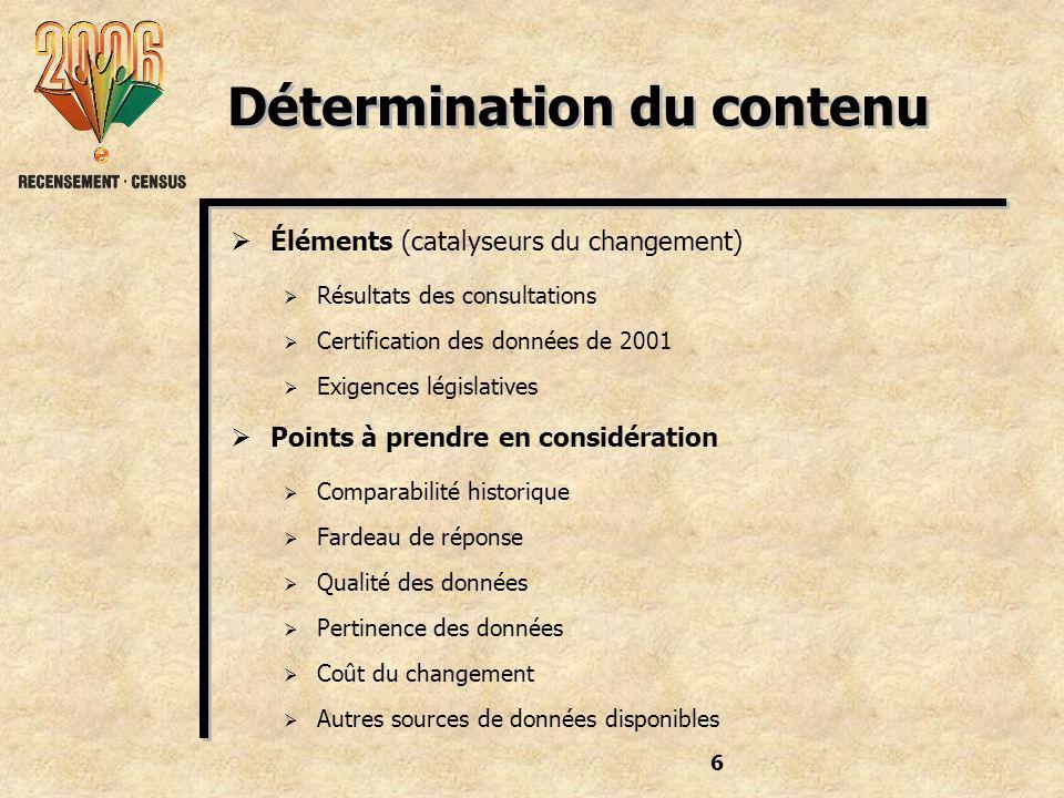 6 Détermination du contenu Éléments (catalyseurs du changement) Résultats des consultations Certification des données de 2001 Exigences législatives Points à prendre en considération Comparabilité historique Fardeau de réponse Qualité des données Pertinence des données Coût du changement Autres sources de données disponibles