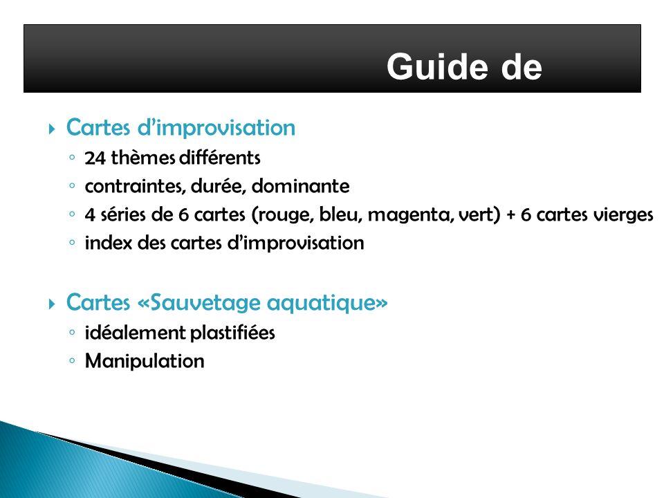 Guide de lenseignant Cartes dimprovisation 24 thèmes différents contraintes, durée, dominante 4 séries de 6 cartes (rouge, bleu, magenta, vert) + 6 ca