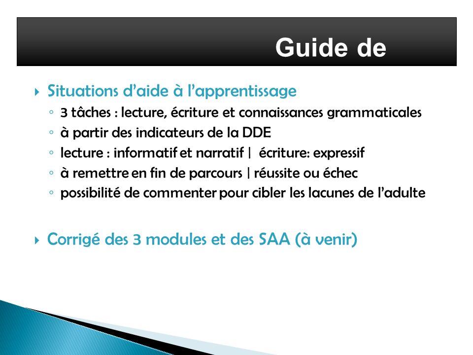 Situations daide à lapprentissage 3 tâches : lecture, écriture et connaissances grammaticales à partir des indicateurs de la DDE lecture : informatif