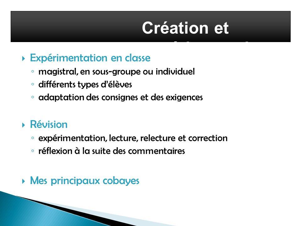 Création et expérimentation Expérimentation en classe magistral, en sous-groupe ou individuel différents types délèves adaptation des consignes et des