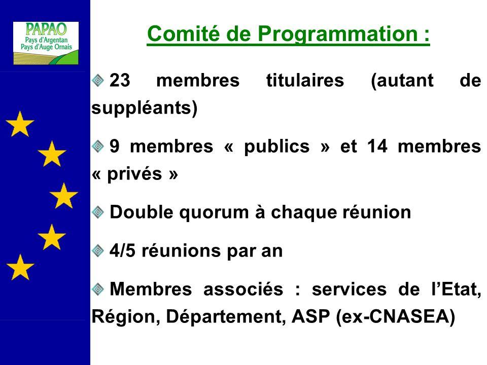 Comité de Programmation : 23 membres titulaires (autant de suppléants) 9 membres « publics » et 14 membres « privés » Double quorum à chaque réunion 4/5 réunions par an Membres associés : services de lEtat, Région, Département, ASP (ex-CNASEA)