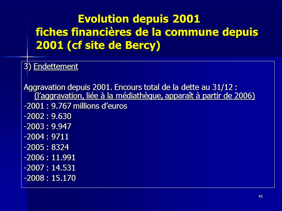 41 Evolution depuis 2001 fiches financières de la commune depuis 2001 (cf site de Bercy) Evolution depuis 2001 fiches financières de la commune depuis 2001 (cf site de Bercy) 3) Endettement Aggravation depuis 2001.