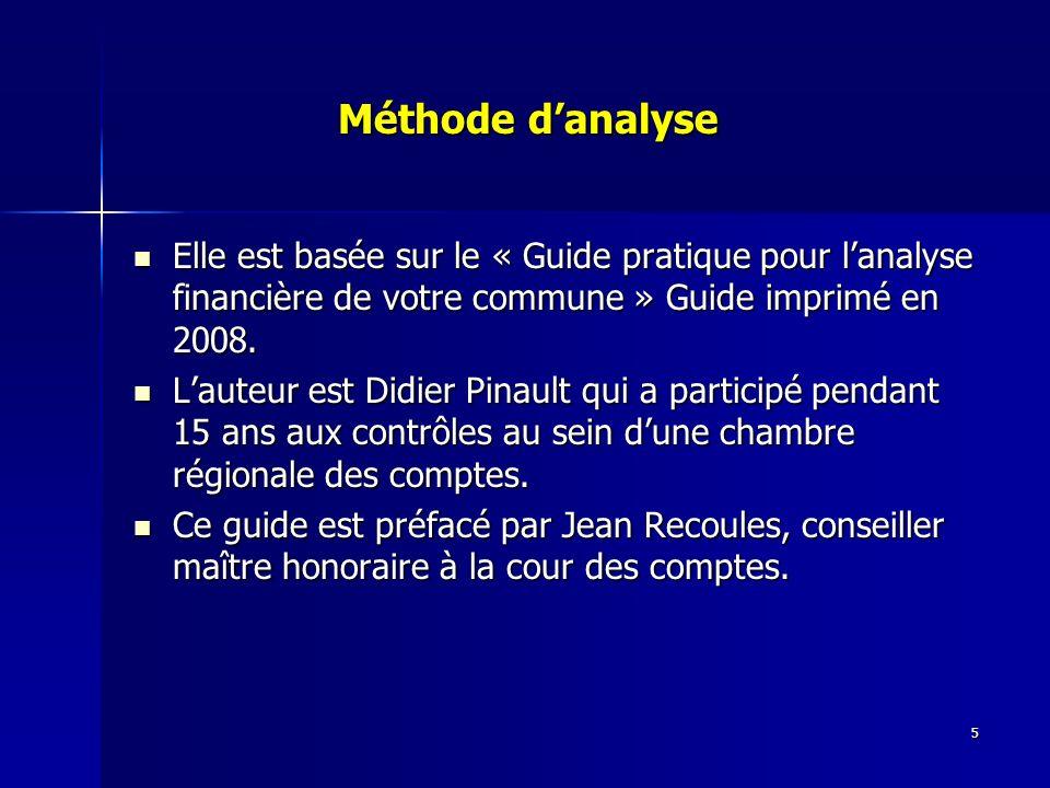 5 Méthode danalyse Méthode danalyse Elle est basée sur le « Guide pratique pour lanalyse financière de votre commune » Guide imprimé en 2008.