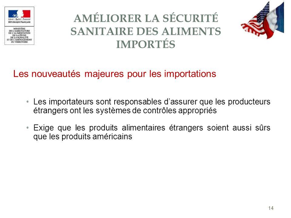 Les importateurs sont responsables dassurer que les producteurs étrangers ont les systèmes de contrôles appropriés Exige que les produits alimentaires