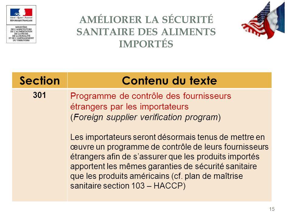 15 SectionContenu du texte 301 Programme de contrôle des fournisseurs étrangers par les importateurs (Foreign supplier verification program) Les impor