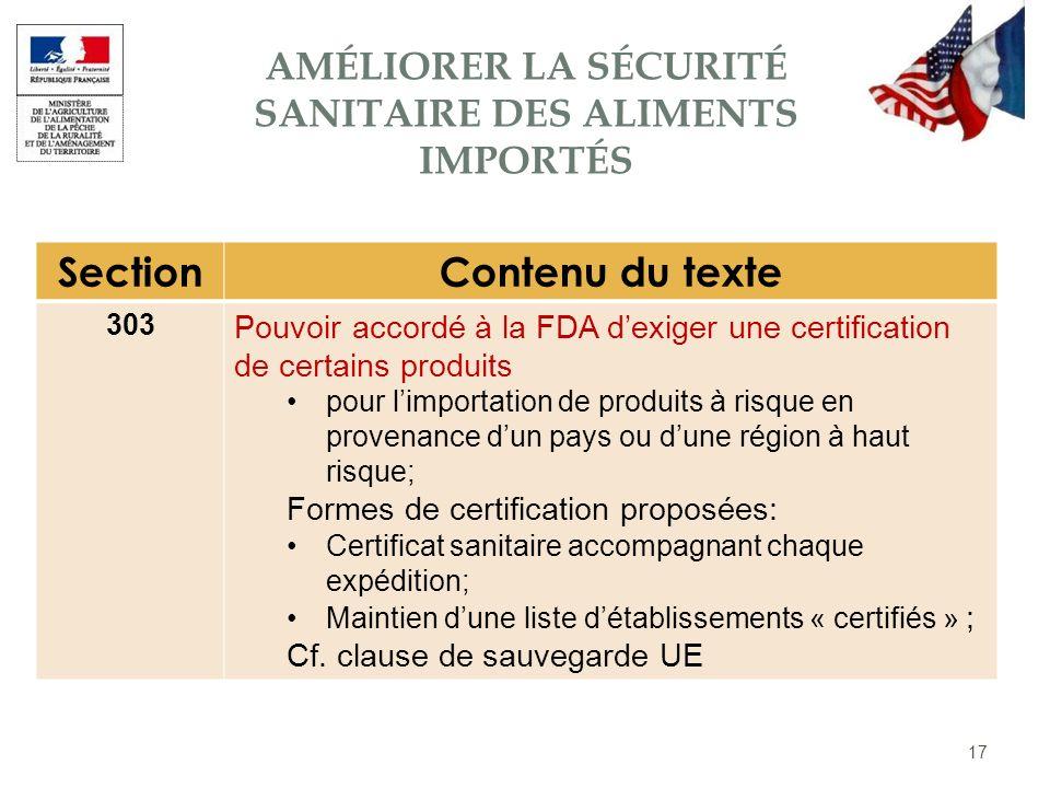 17 SectionContenu du texte 303 Pouvoir accordé à la FDA dexiger une certification de certains produits pour limportation de produits à risque en prove