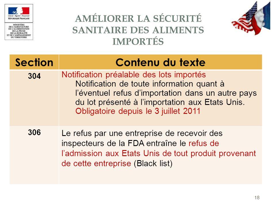 18 SectionContenu du texte 304 Notification préalable des lots importés Notification de toute information quant à léventuel refus dimportation dans un