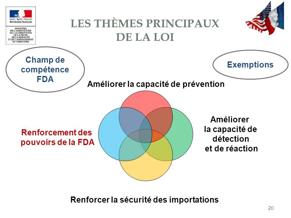 Renforcer la sécurité des importations Améliorer la capacité de détection et de réaction Améliorer la capacité de prévention Renforcement des pouvoirs