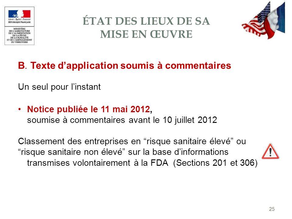 B. Texte dapplication soumis à commentaires Notice publiée le 11 mai 2012, soumise à commentaires avant le 10 juillet 2012 Classement des entreprises