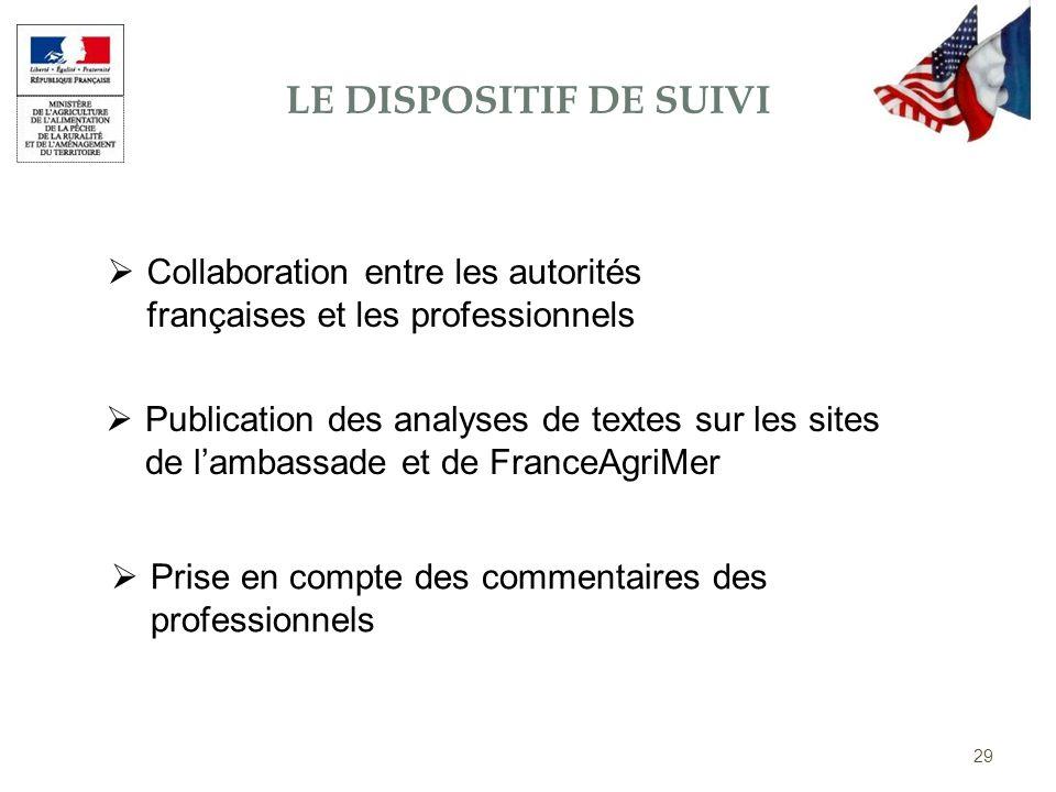 29 LE DISPOSITIF DE SUIVI Collaboration entre les autorités françaises et les professionnels Publication des analyses de textes sur les sites de lamba