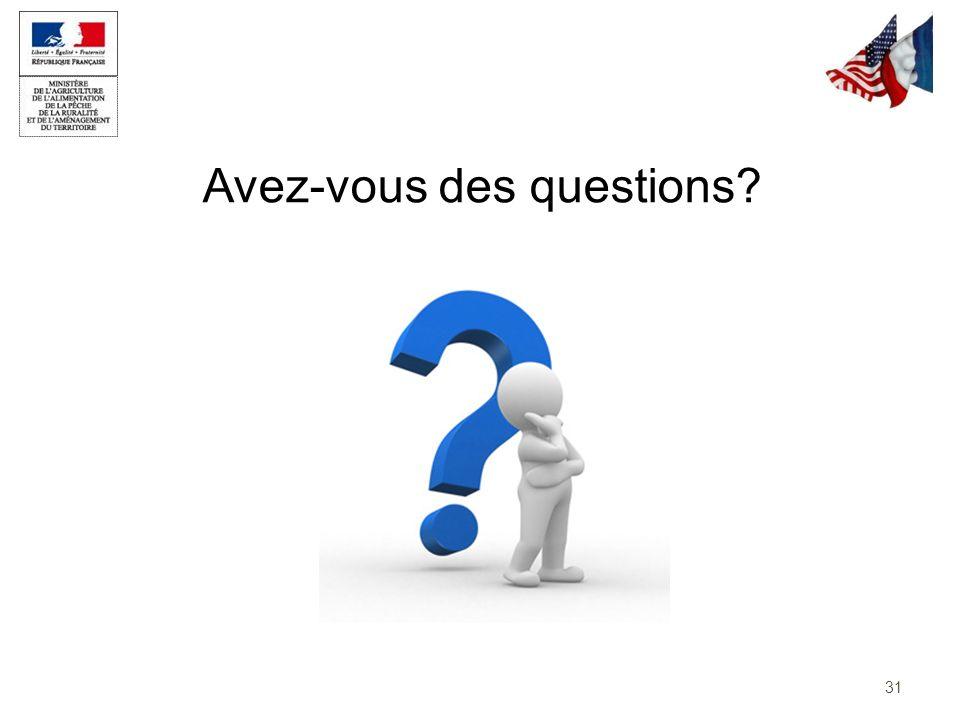 Avez-vous des questions? 31