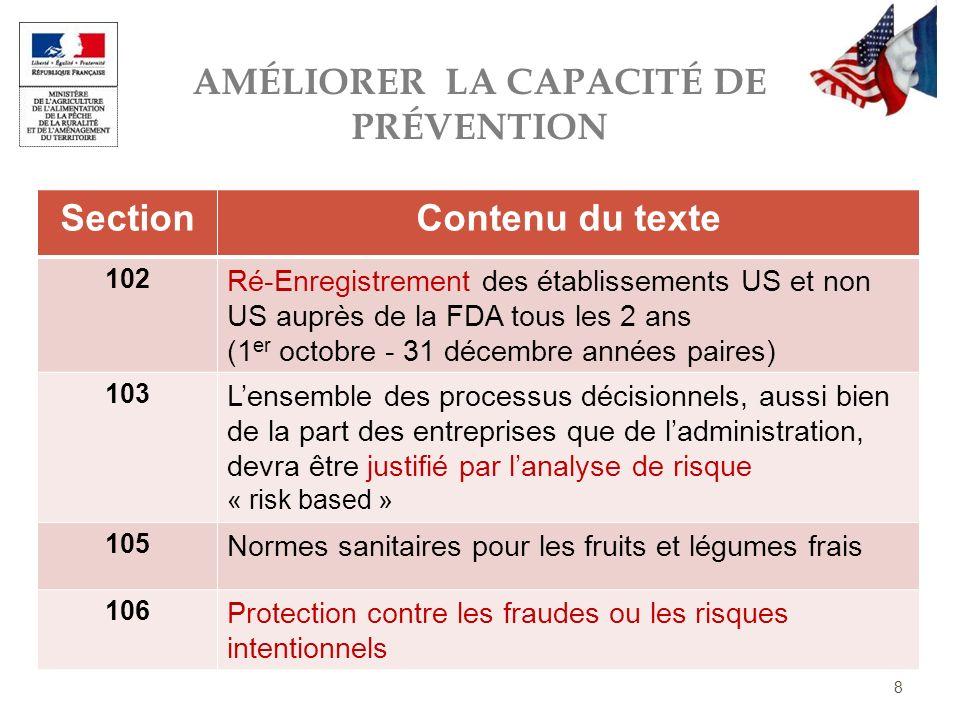 AMÉLIORER LA CAPACITÉ DE PRÉVENTION 8 SectionContenu du texte 102 Ré-Enregistrement des établissements US et non US auprès de la FDA tous les 2 ans (1