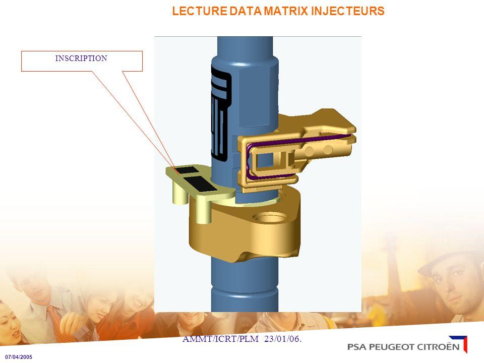 AMMT/ICRT/PLM 23/01/06. LECTURE DATA MATRIX INJECTEURS INSCRIPTION 07/04/2005
