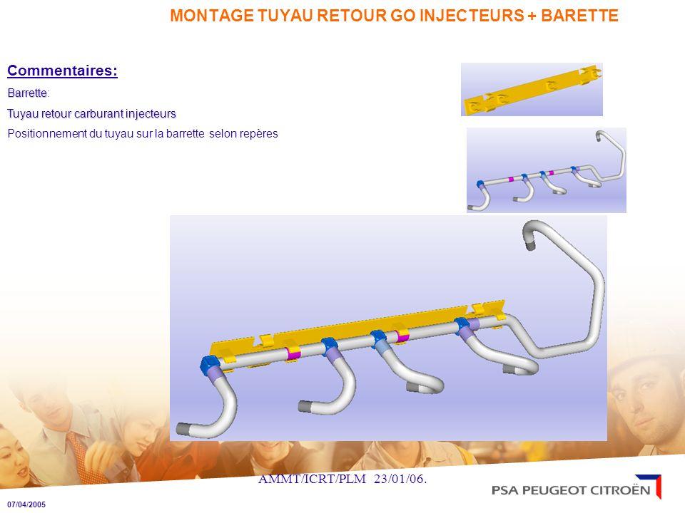 AMMT/ICRT/PLM 23/01/06. MONTAGE TUYAU RETOUR GO INJECTEURS + BARETTE Commentaires: Barrette Barrette: Tuyau retour carburant injecteurs Positionnement