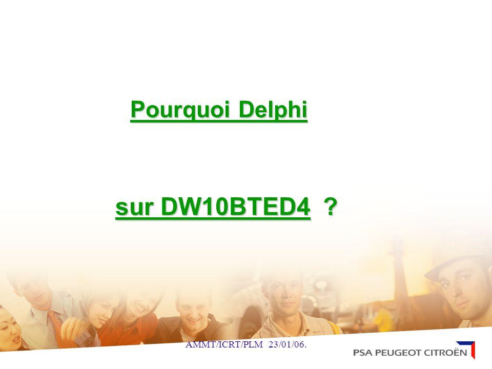 AMMT/ICRT/PLM 23/01/06. Pourquoi Delphi sur DW10BTED4 ?