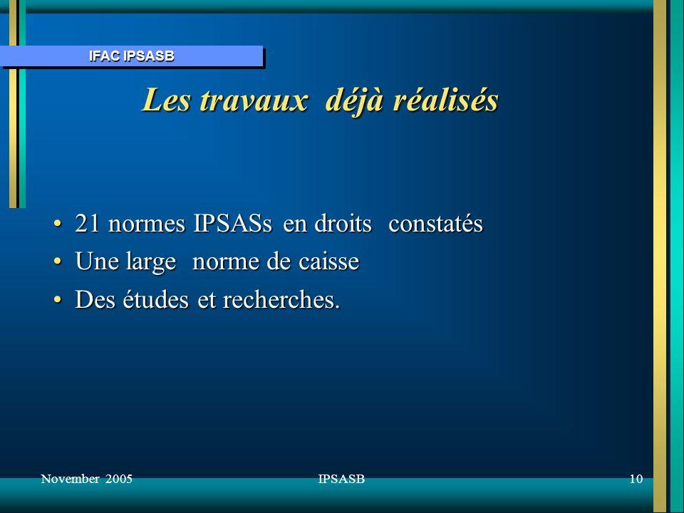 IFAC IPSASB November 200510IPSASB Les travaux déjà réalisés 21 normes IPSASs en droits constatés21 normes IPSASs en droits constatés Une large norme de caisseUne large norme de caisse Des études et recherches.Des études et recherches.