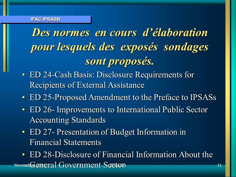 IFAC IPSASB November 200511IPSASB Des normes en cours délaboration pour lesquels des exposés sondages sont proposés.