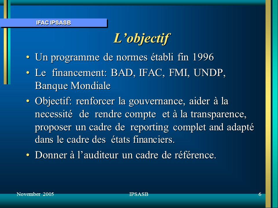 IFAC IPSASB November 20057IPSASB Lapproche de lIPSASB Promouvoir ladoption dune comptabilité de droits constatésPromouvoir ladoption dune comptabilité de droits constatés Reconnaitre lusage répandu de la base caisseReconnaitre lusage répandu de la base caisse Apporter une aide à la transition vers les droits constatés.Apporter une aide à la transition vers les droits constatés.
