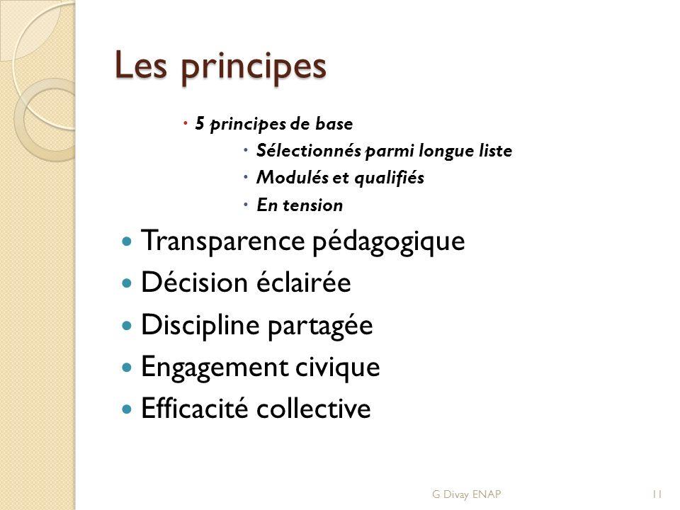 Les principes 5 principes de base Sélectionnés parmi longue liste Modulés et qualifiés En tension Transparence pédagogique Décision éclairée Discipline partagée Engagement civique Efficacité collective G Divay ENAP11