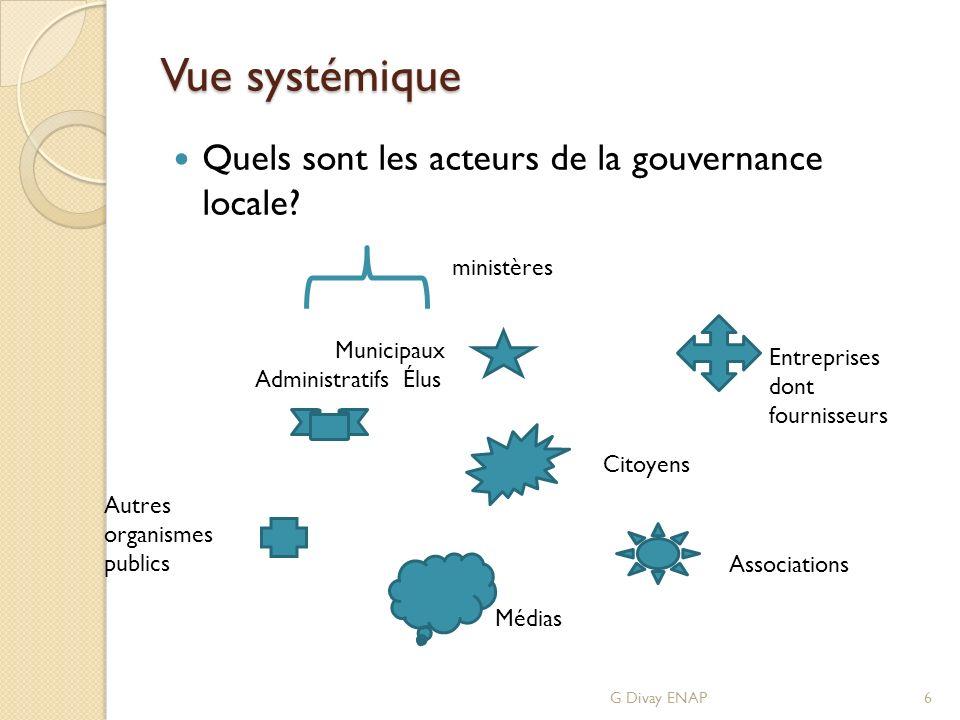 Vue systémique Quels sont les acteurs de la gouvernance locale? G Divay ENAP6 ministères Municipaux Administratifs Élus Autres organismes publics Médi