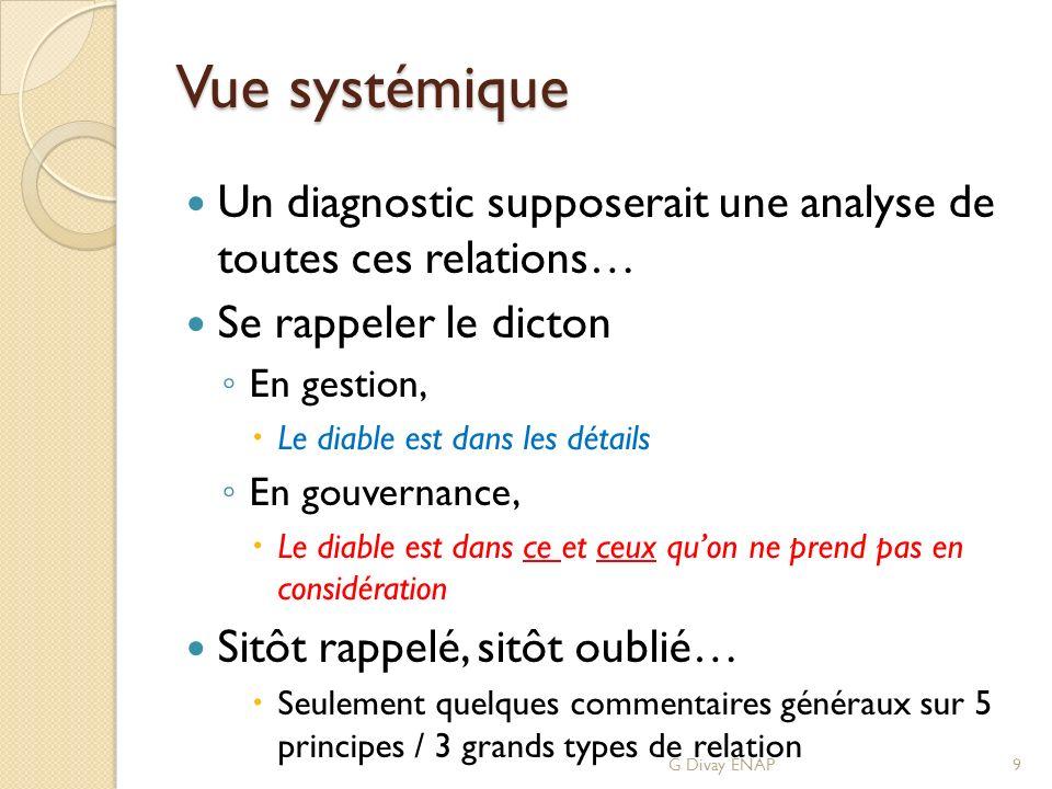 Vue systémique Un diagnostic supposerait une analyse de toutes ces relations… Se rappeler le dicton En gestion, Le diable est dans les détails En gouv