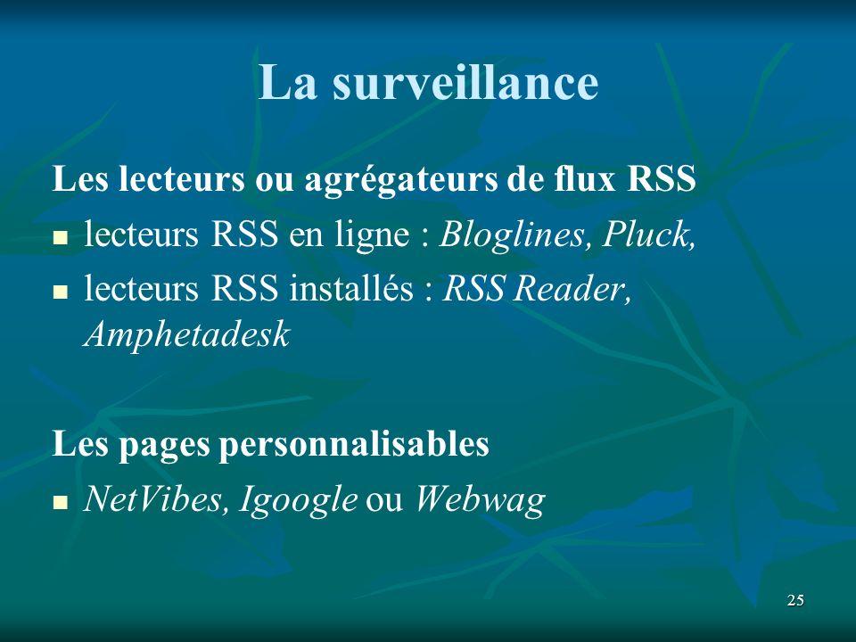 25 La surveillance Les lecteurs ou agrégateurs de flux RSS lecteurs RSS en ligne : Bloglines, Pluck, lecteurs RSS installés : RSS Reader, Amphetadesk Les pages personnalisables NetVibes, Igoogle ou Webwag