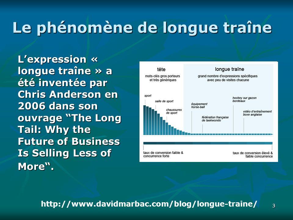 33 Le phénomène de longue traîne Lexpression « longue traîne » a été inventée par Chris Anderson en 2006 dans son ouvrage The Long Tail: Why the Future of Business Is Selling Less of More.