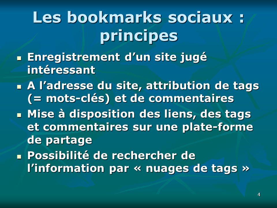 44 Les bookmarks sociaux : principes Enregistrement dun site jugé intéressant Enregistrement dun site jugé intéressant A ladresse du site, attribution de tags (= mots-clés) et de commentaires A ladresse du site, attribution de tags (= mots-clés) et de commentaires Mise à disposition des liens, des tags et commentaires sur une plate-forme de partage Mise à disposition des liens, des tags et commentaires sur une plate-forme de partage Possibilité de rechercher de linformation par « nuages de tags » Possibilité de rechercher de linformation par « nuages de tags »